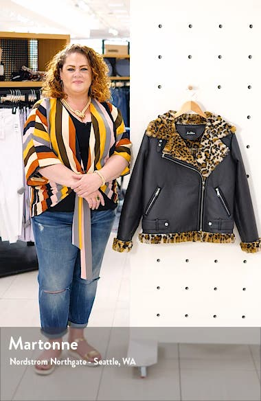 Oversize Faux Shearling Moto Jacket, sales video thumbnail