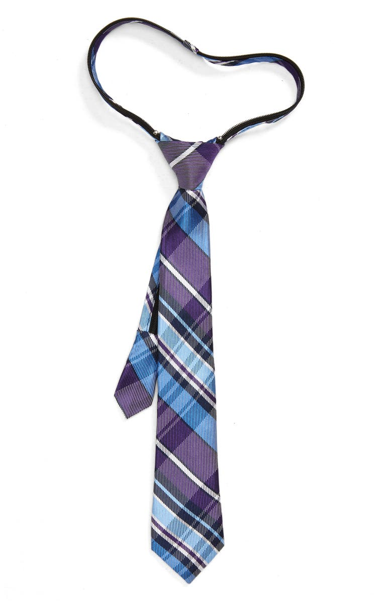 NORDSTROM Jude Plaid Silk Zipper Tie, Main, color, BLUE