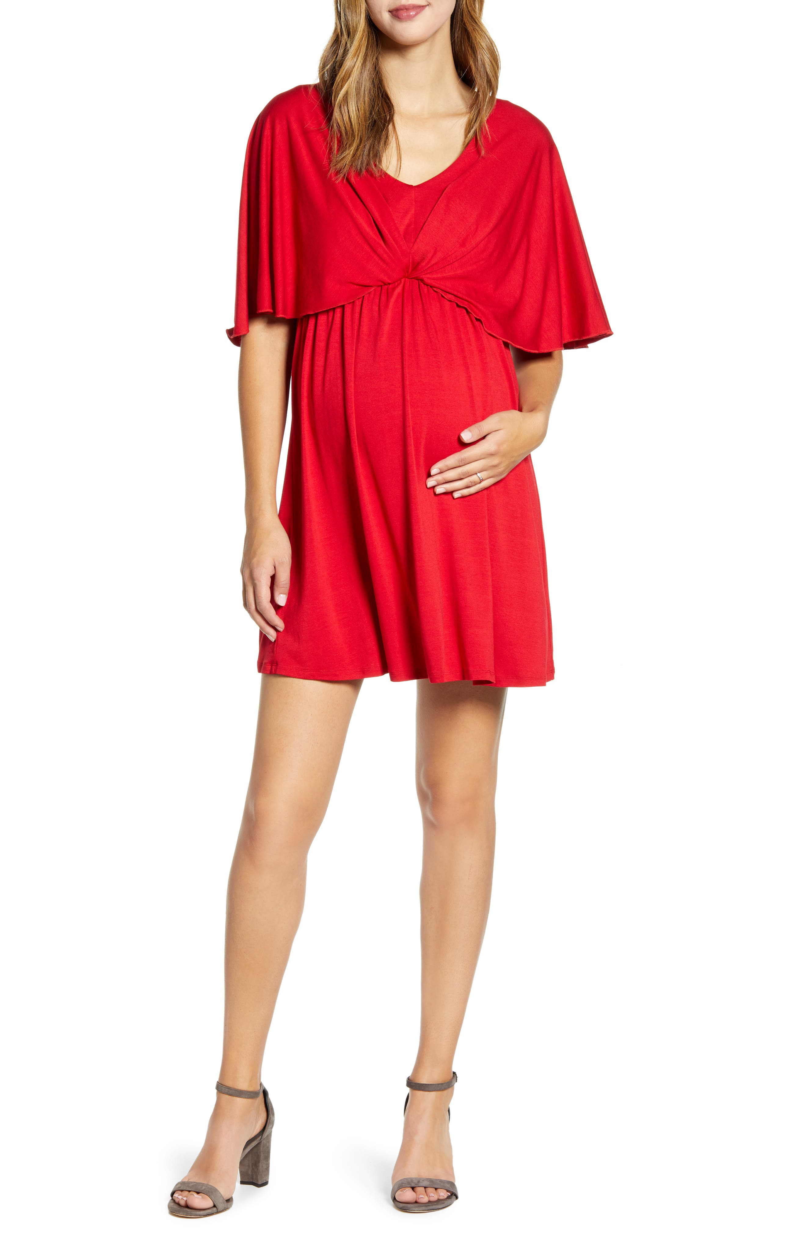 Cape Sleeve Maternity Dress