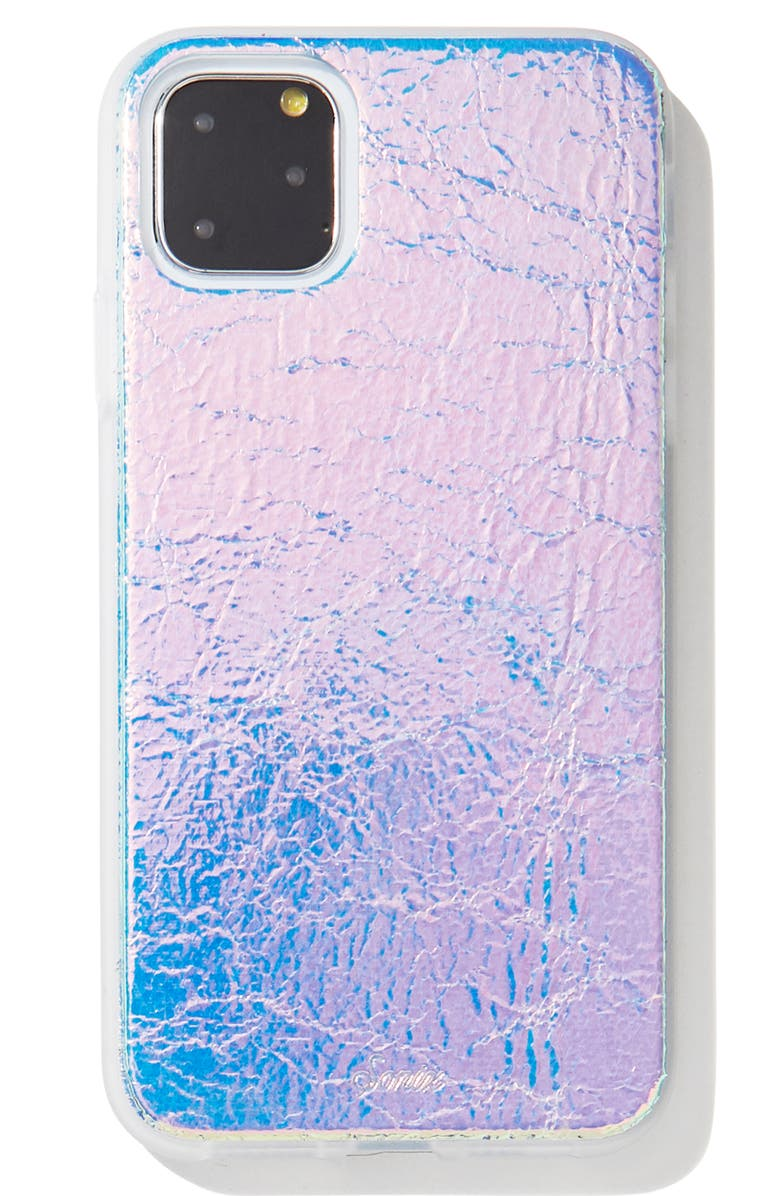 SONIX Holographic Faux Leather iPhone 11, 11 Pro & 11 Pro Max Case, Main, color, SILVER