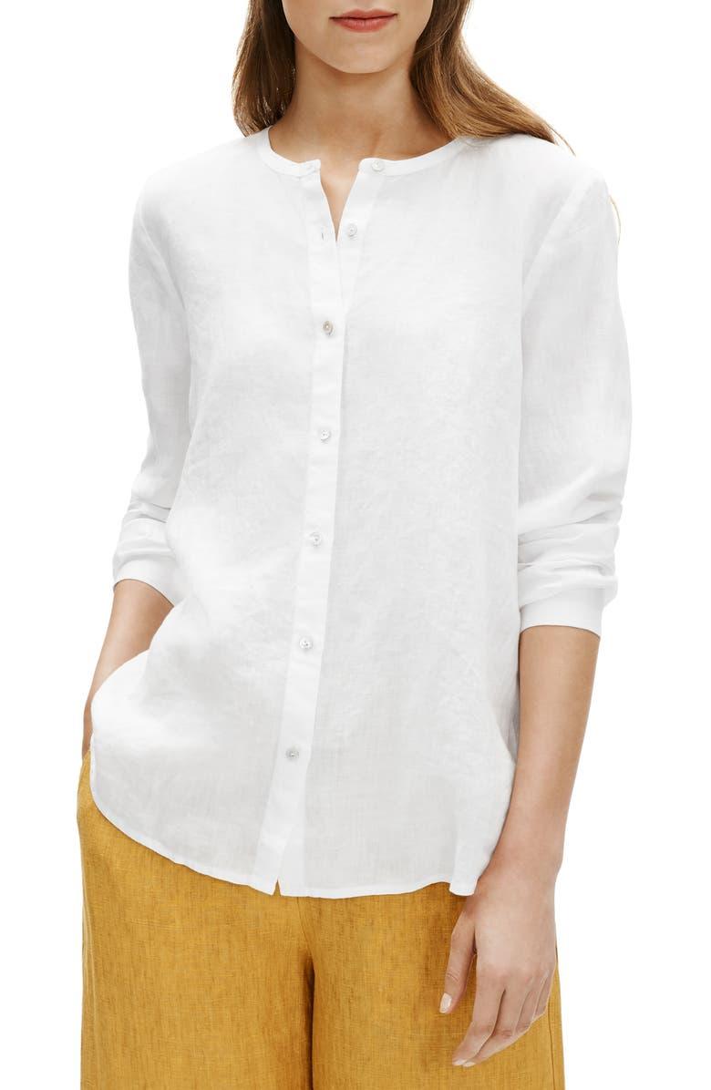 EILEEN FISHER Collarless Organic Linen Button-Up Shirt, Main, color, 100