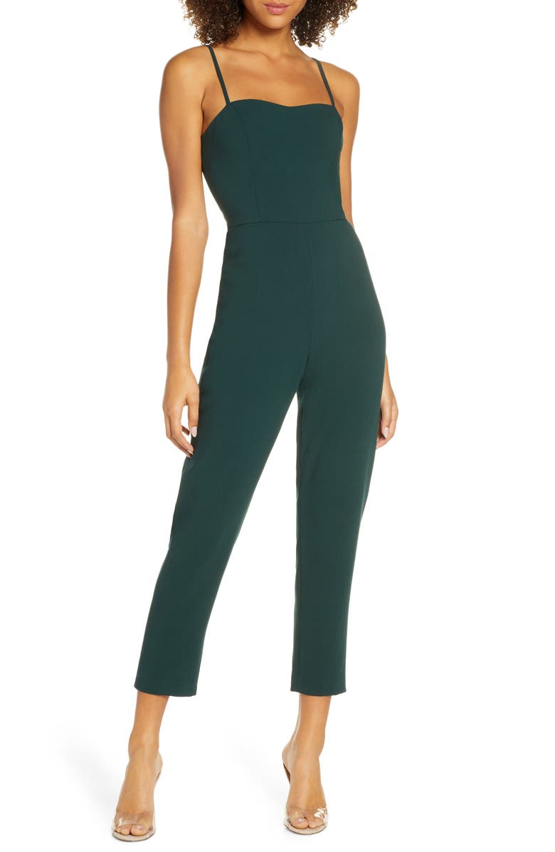 FRENCH CONNECTION Whisper Tapered Leg Jumpsuit, Main, color, BAYOU GREEN