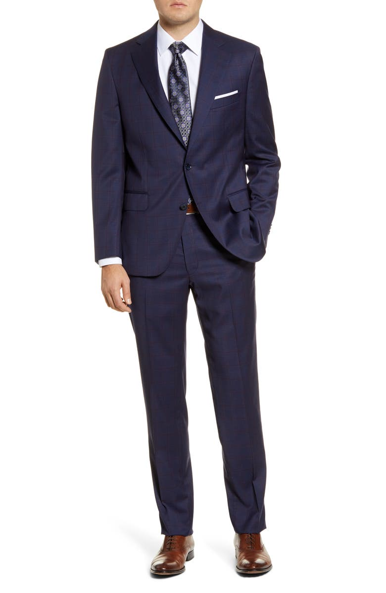 PETER MILLAR Classic Fit Windowpane Wool Suit, Main, color, BLUE