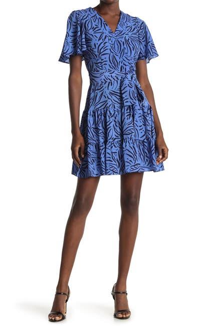Image of Eliza J Flutter Sleeve Patterned Fit & Flare Dress