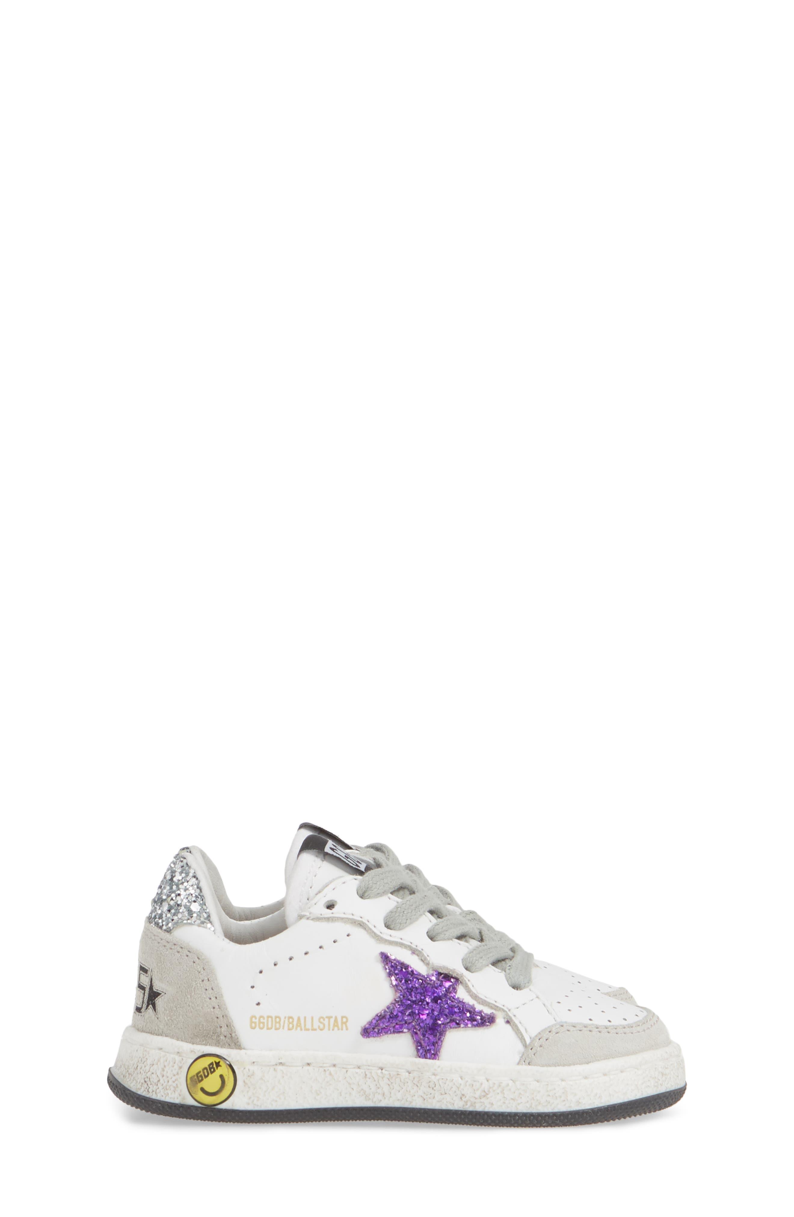 ,                             Ball Star Glitter Sneaker,                             Alternate thumbnail 4, color,                             WHITE LEATHER/ PURPLE GLITTER