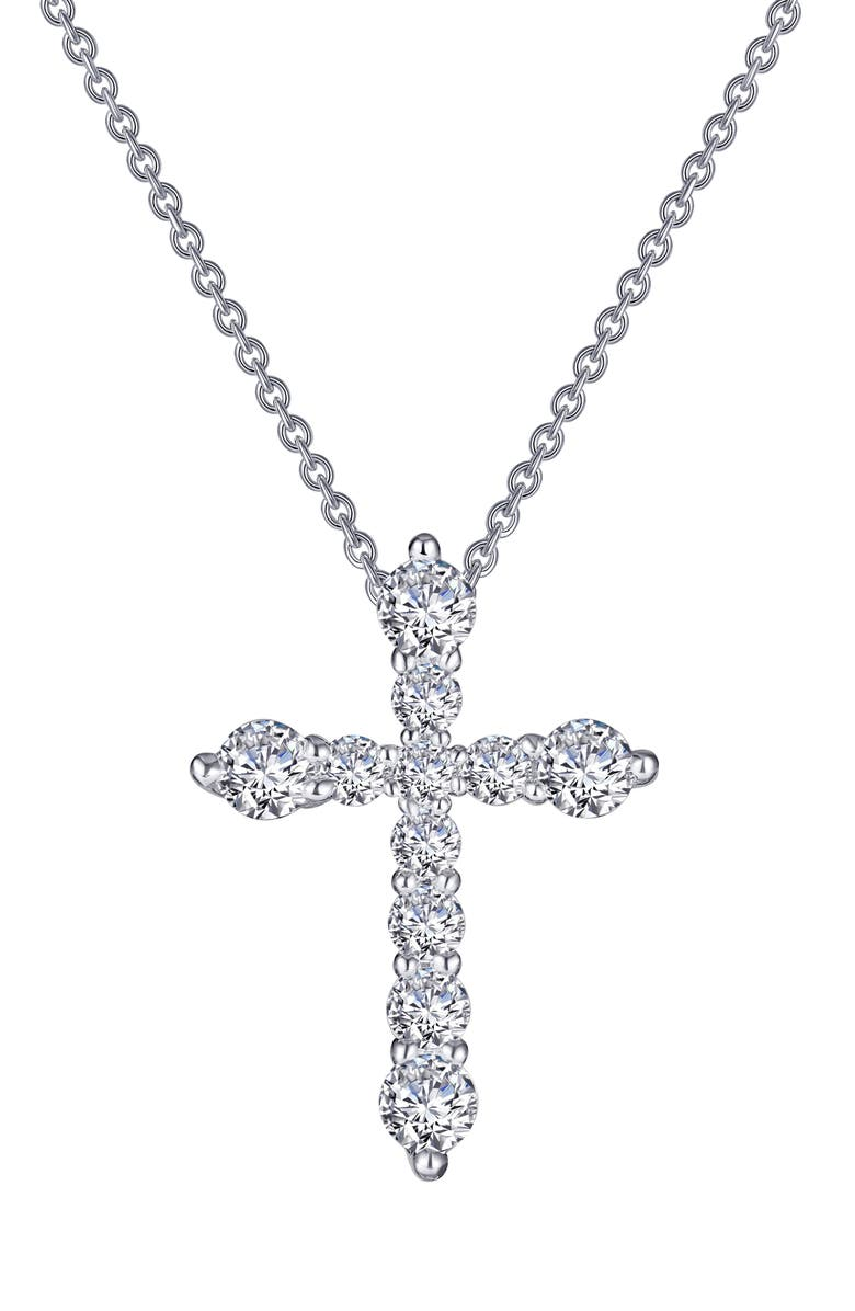 LAFONN Classic Simulated Diamond Cross Pendant Necklace, Main, color, CLEAR/ SILVER