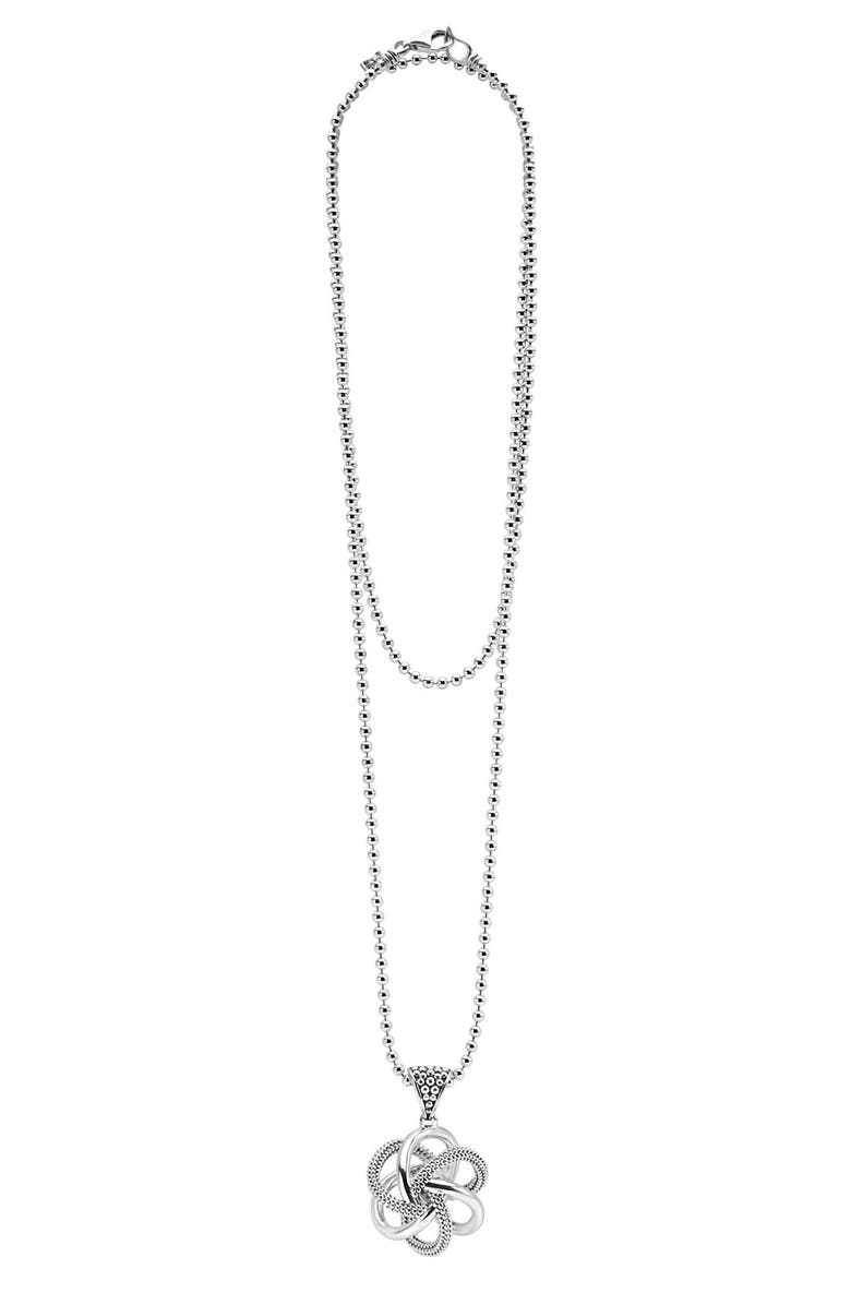 LAGOS 'Love Knot' Long Pendant Necklace, Main, color, STERLING SILVER