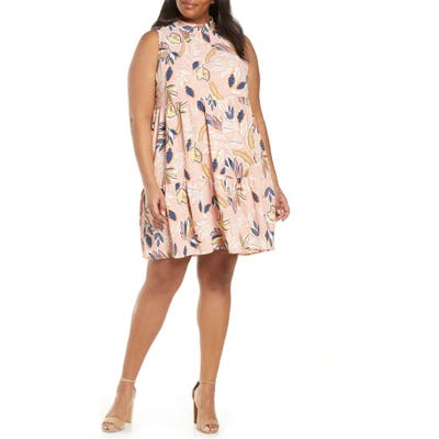 Plus Size Gibson X The Motherchic Lakeshore Tiered Dress, Coral