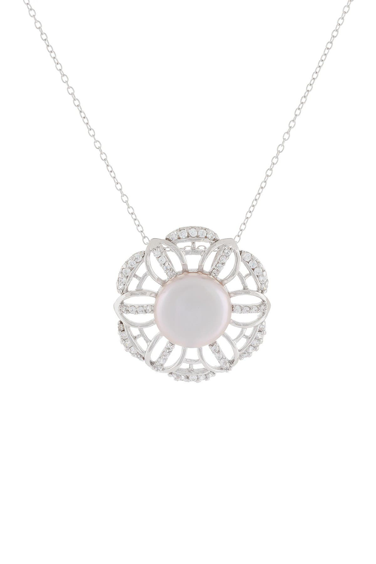 Image of Splendid Pearls Pave CZ & 11-12mm Cultured Freshwater Pearl Coin Pendant Necklace