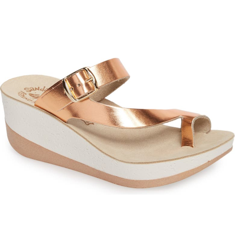 FANTASY SANDALS Felisa Wedge Sandal, Main, color, ROSE GOLD LEATHER