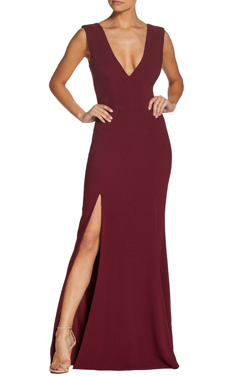 DRESS THE POPULATION Sandra Plunge Crepe Trumpet Gown, Main, color, BURGUNDY