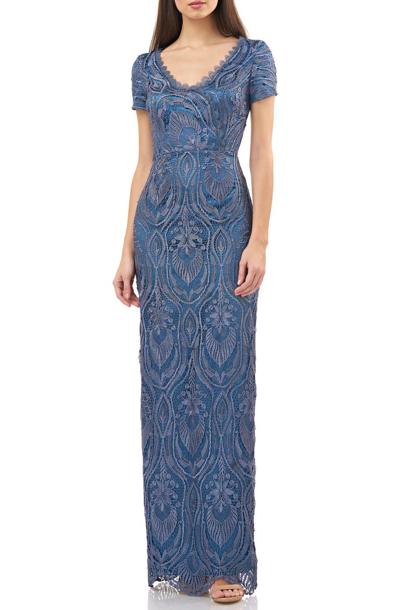 JS COLLECTIONS Scalloped Lace & Satin Gown, Main, color, MINERAL BLUE