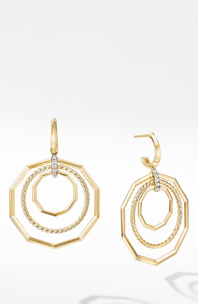 DAVID YURMAN Stax Extra Large 18K Yellow Gold Drop Earrings with Diamonds, Main, color, YELLOW GOLD/ DIAMOND