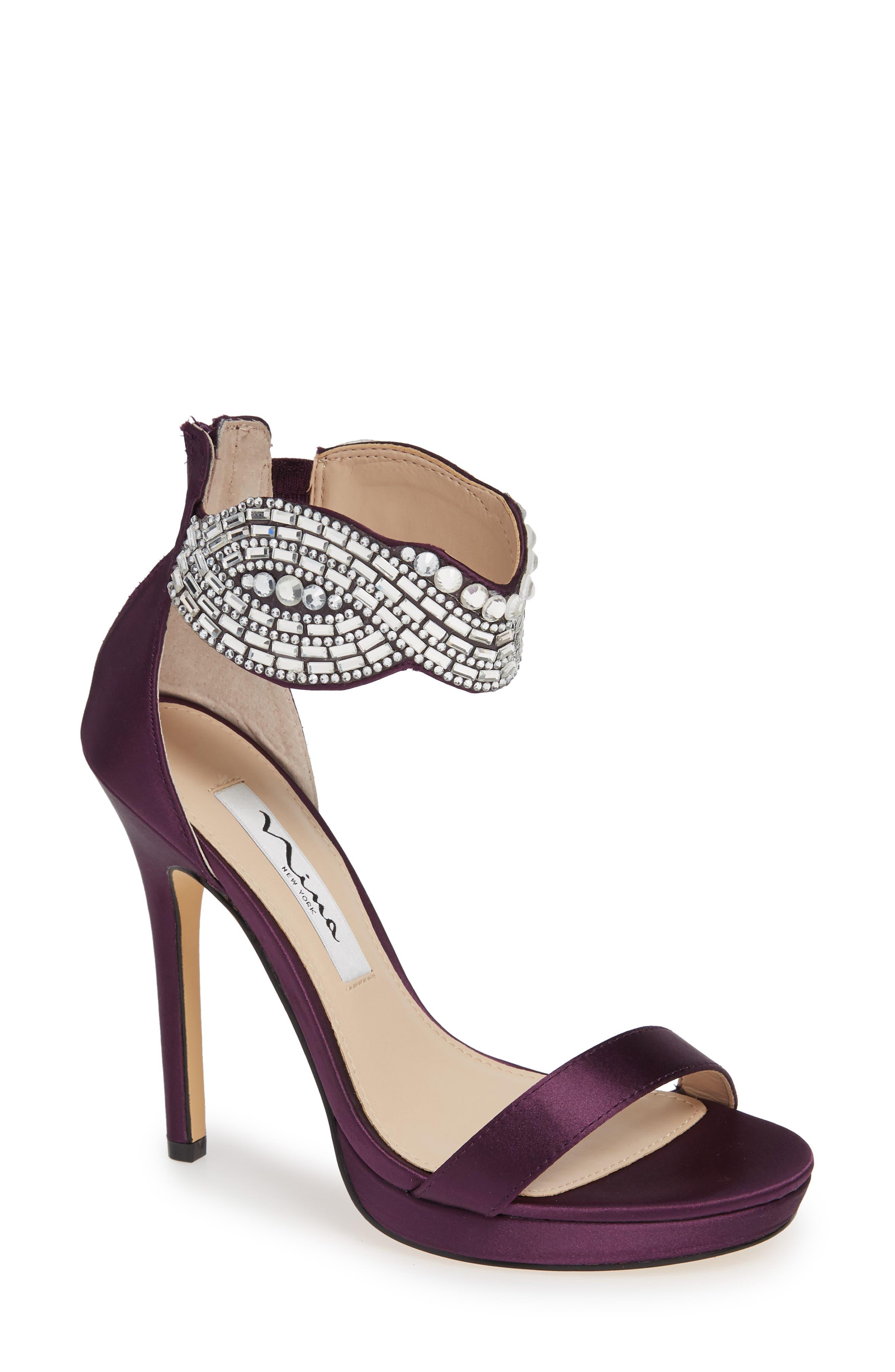 Fayth Jeweled Ankle Cuff Sandal, Main, color, EGGPLANT SATIN