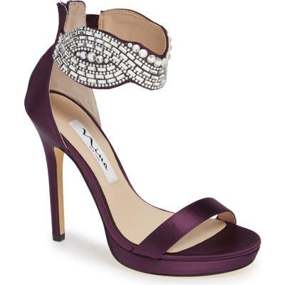 Nina Fayth Jeweled Ankle Cuff Sandal- Purple