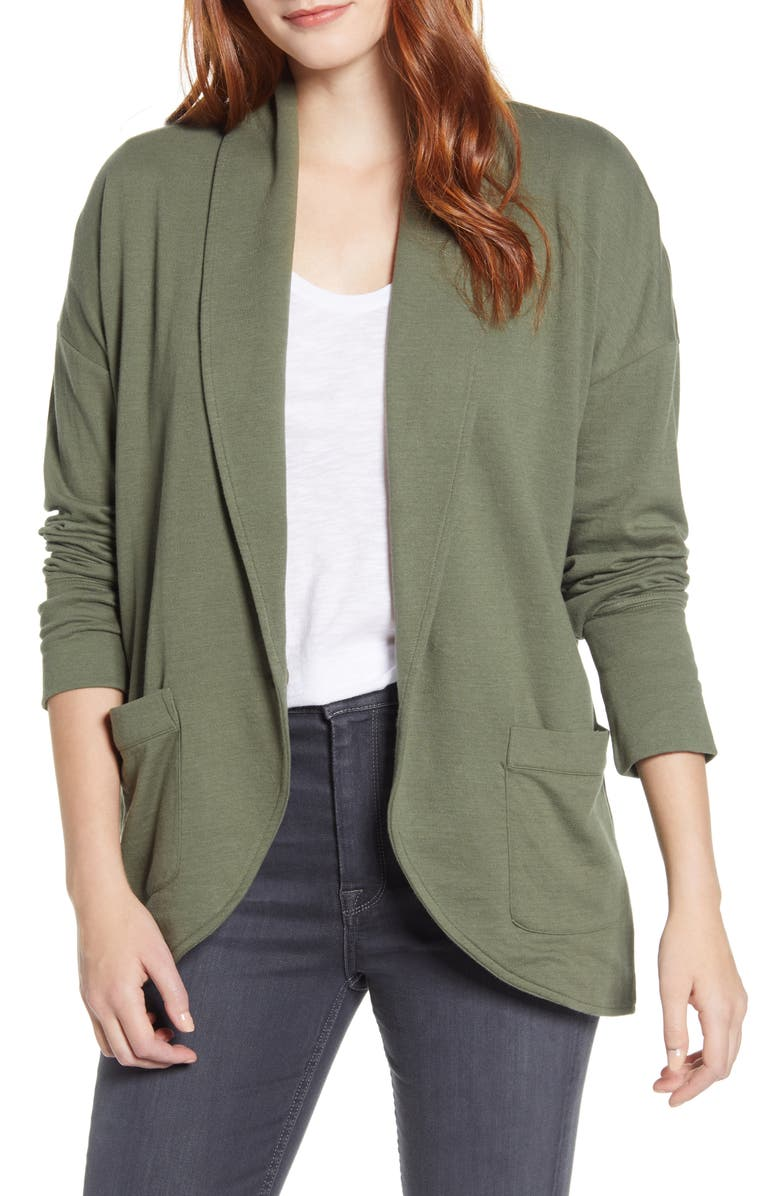 CASLON<SUP>®</SUP> Textured Knit Jacket, Main, color, GREEN BEETLE