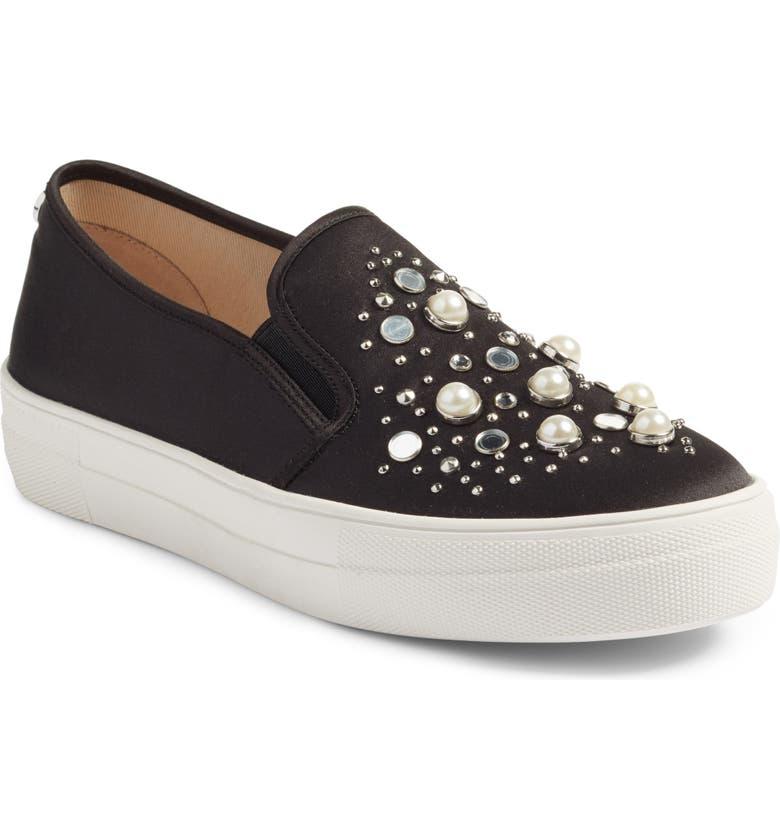 STEVE MADDEN Glade Embellished Slip-On Sneaker, Main, color, 001