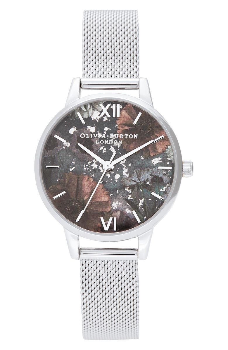 OLIVIA BURTON Celestial Mesh Strap Watch, 30mm, Main, color, SILVER/ BLACK GLITTER