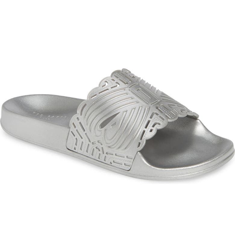 TED BAKER LONDON Missley Perforated Sport Slide, Main, color, SILVER