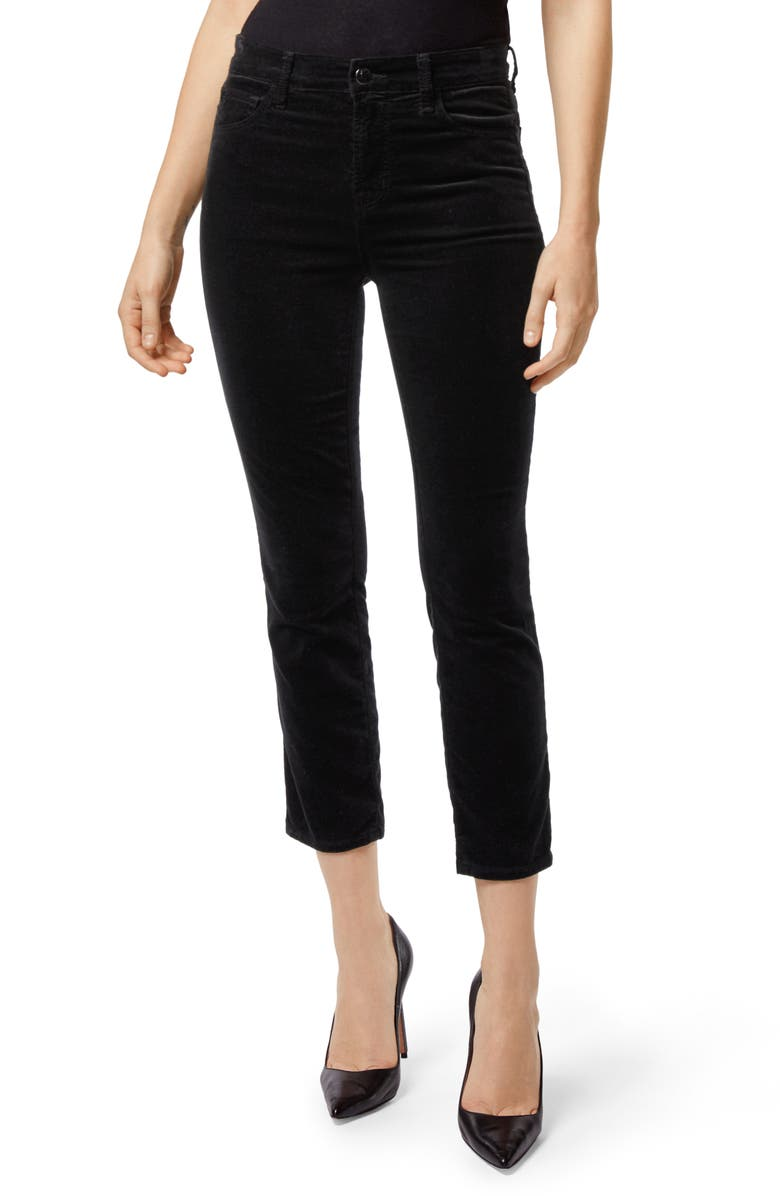J BRAND Ruby High Waist Crop Velvet Pants, Main, color, 001