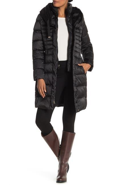Image of Tahari Casey Faux Fur Trim Hooded Long Puffer Coat