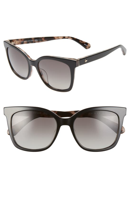 Kate Spade Kiyas 53mm Polarized Cat Eye Sunglasses In Black Pink Havana/ Grey Polar