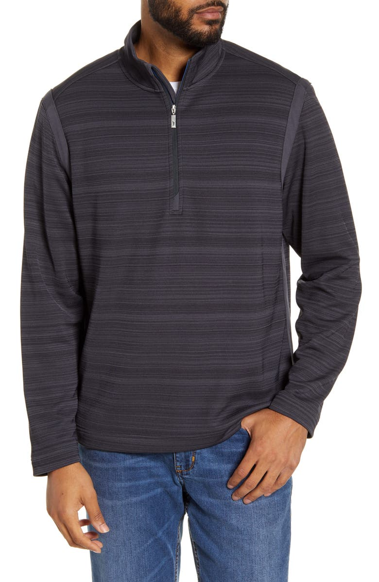 TOMMY BAHAMA Tidal Stripe Half Zip Pullover, Main, color, TROWEL