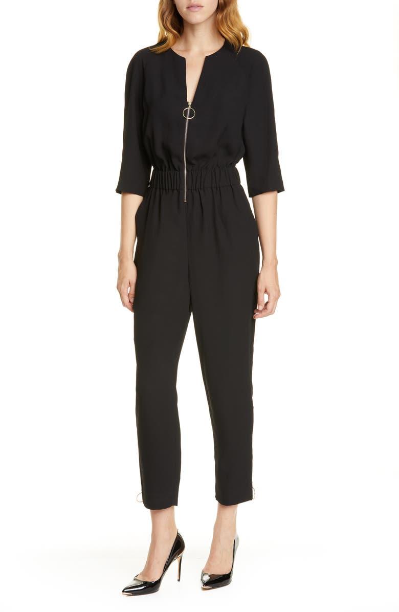 TED BAKER LONDON Iiris Zip Front Jumpsuit, Main, color, BLACK