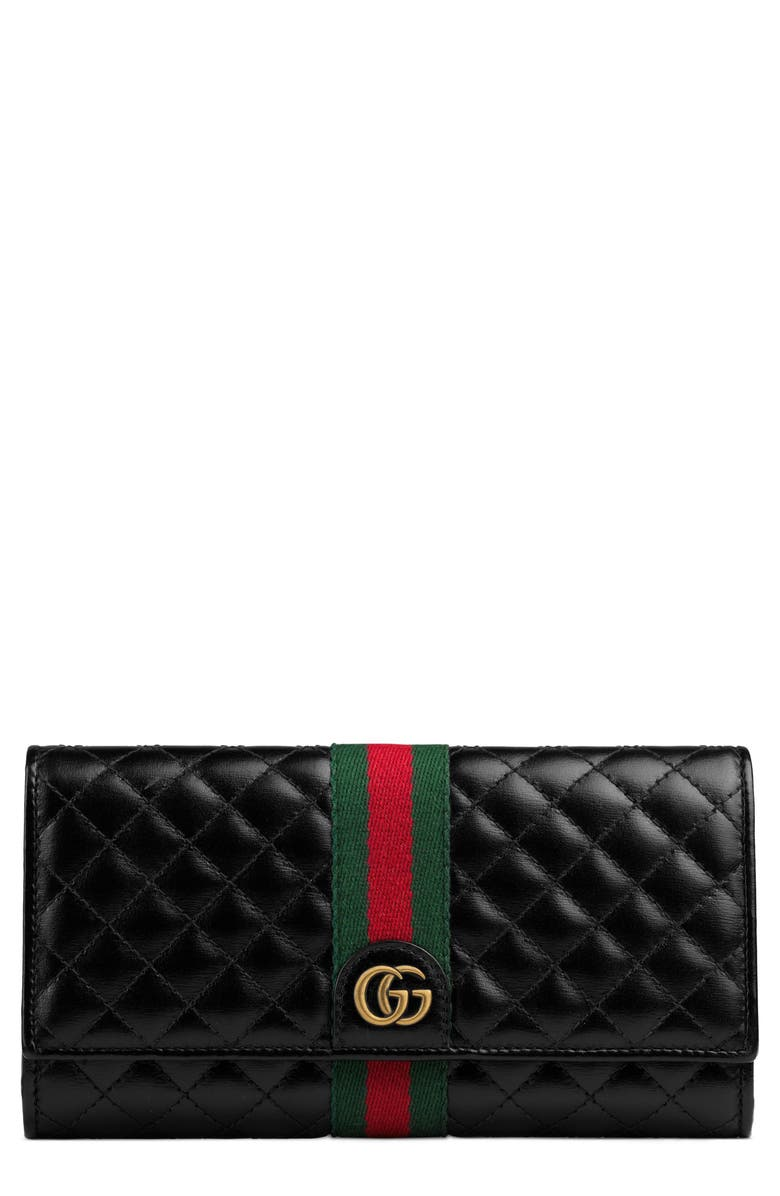 GUCCI Quilted Leather Continental Wallet, Main, color, 006