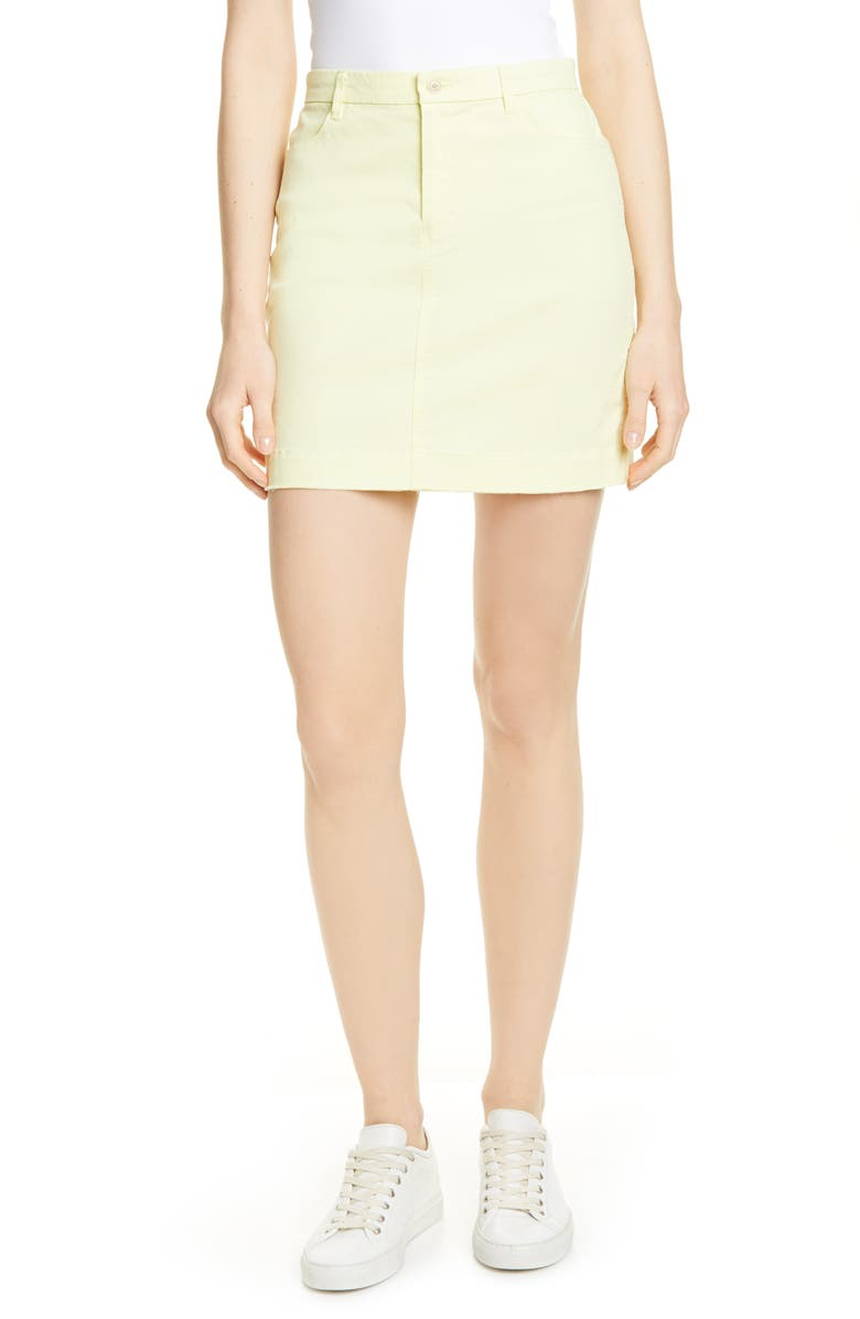 ATM ANTHONY THOMAS MELILLO Stretch Cotton Miniskirt, Main, color, LEMON