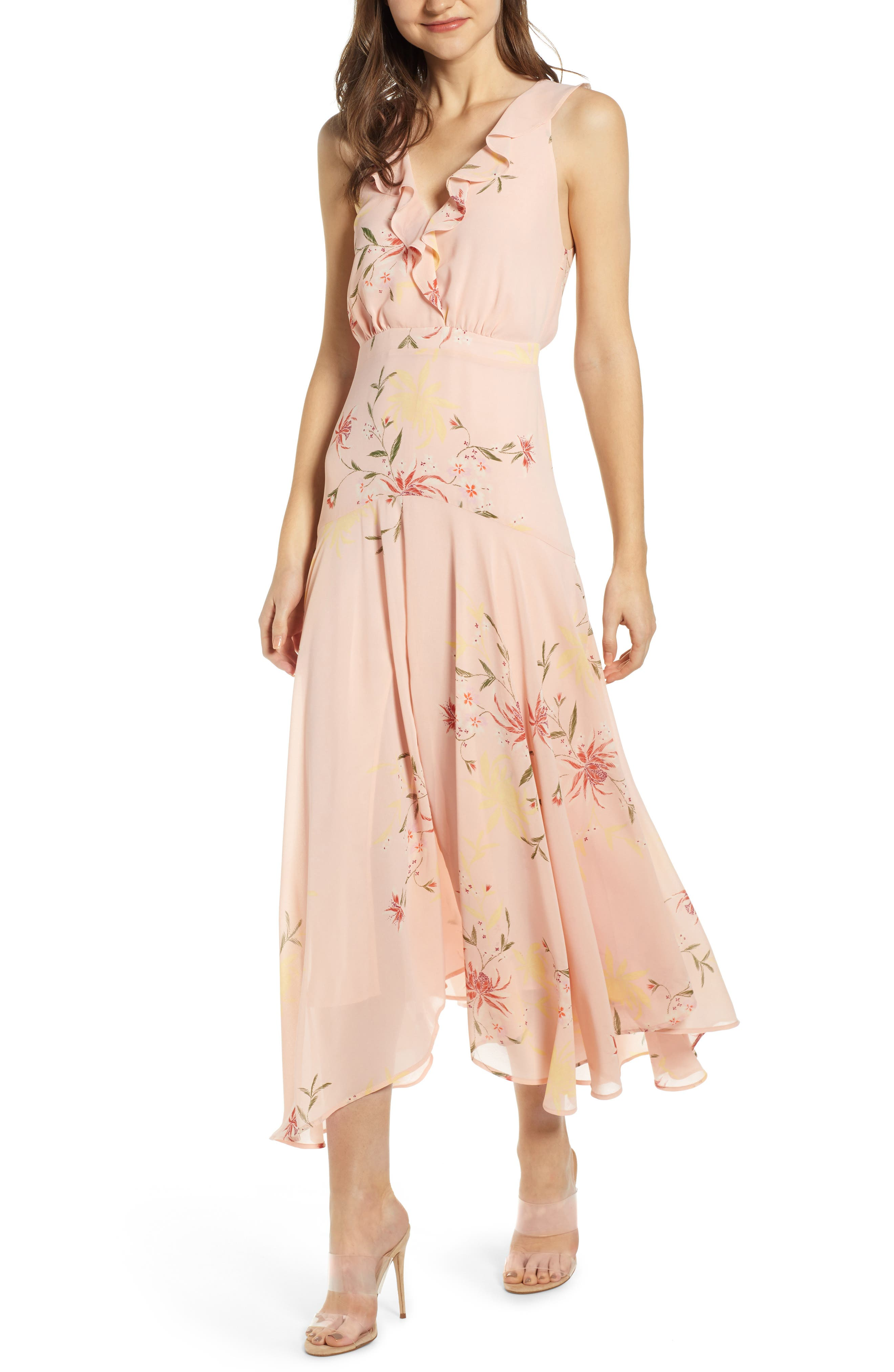 Ruffle Detail High/Low Sleeveless Maxi Dress, Main, color, 950