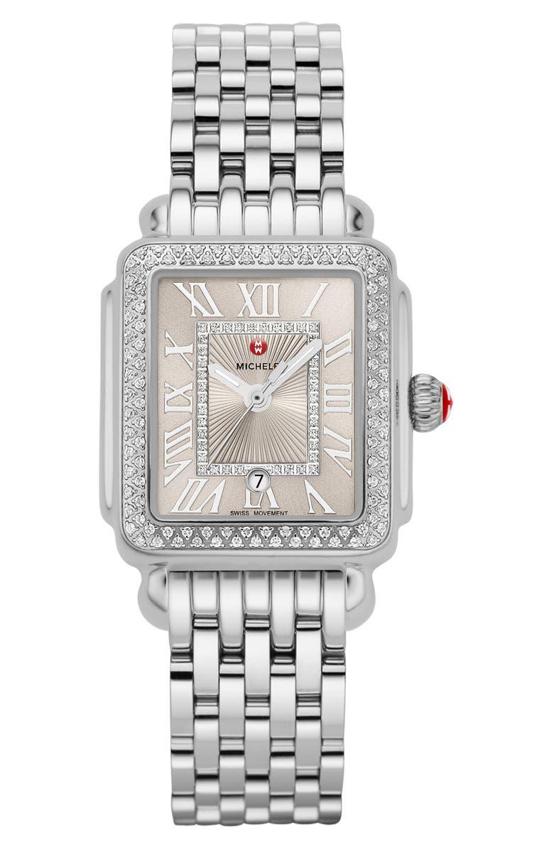 MICHELE Deco Diamond Watch Head & Bracelet, 29mm, Main, color, SILVER/ CASHMERE