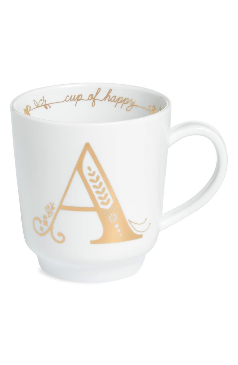 NORDSTROM Cup of Happy Glazed Monogram Mug, Main, color, A - GOLD MULTI