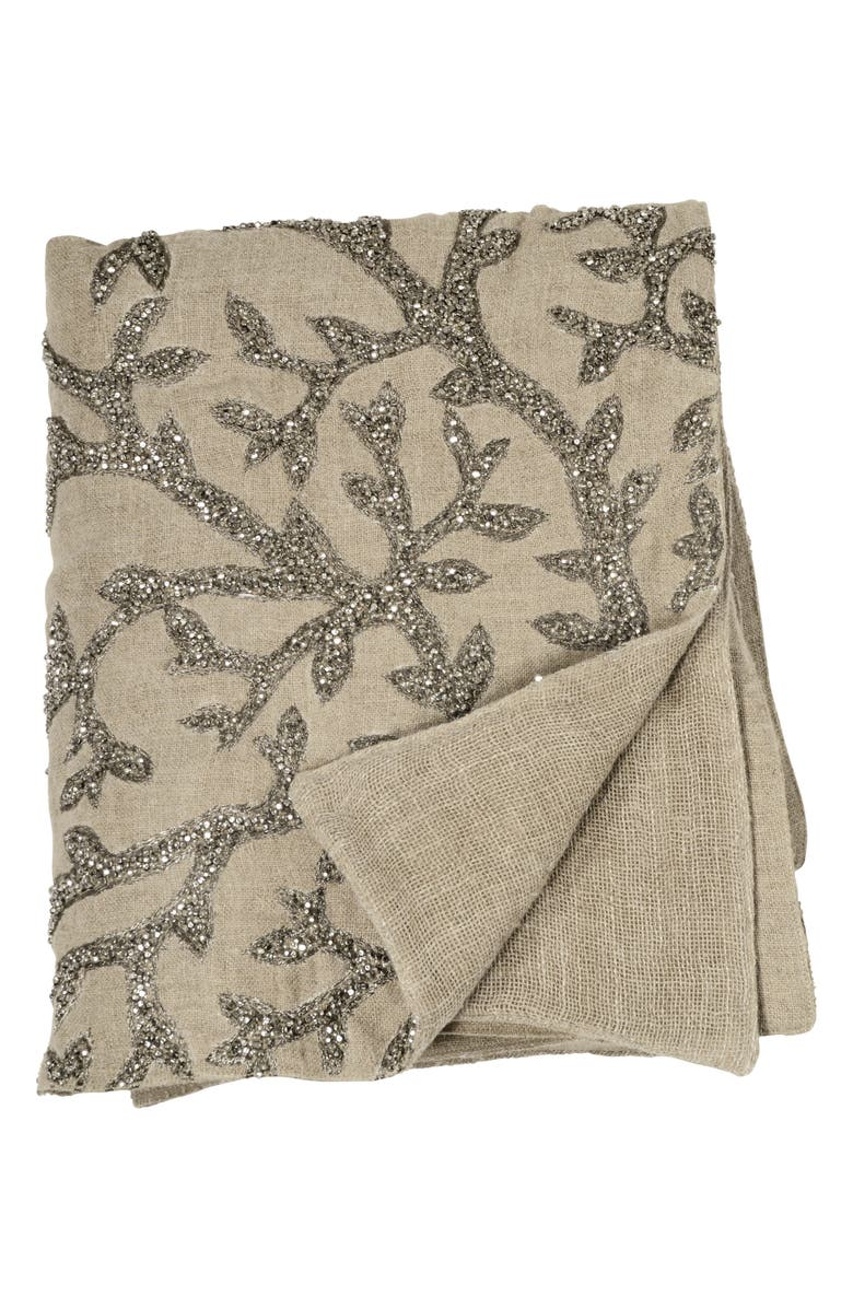 MICHAEL ARAM Tree Of Life Beaded Throw, Main, color, LINEN