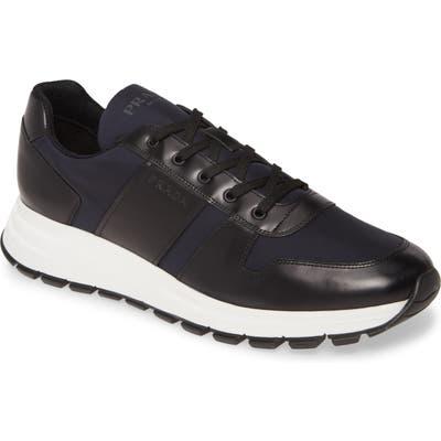Prada Nylon & Leather Runner Sneaker, Black