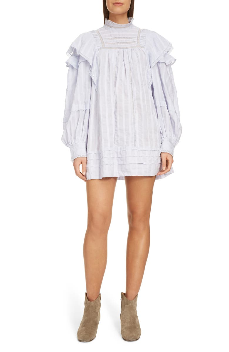 ISABEL MARANT ÉTOILE Patsy Ruffle Lace Inset Shirtdress, Main, color, LIGHT BLUE