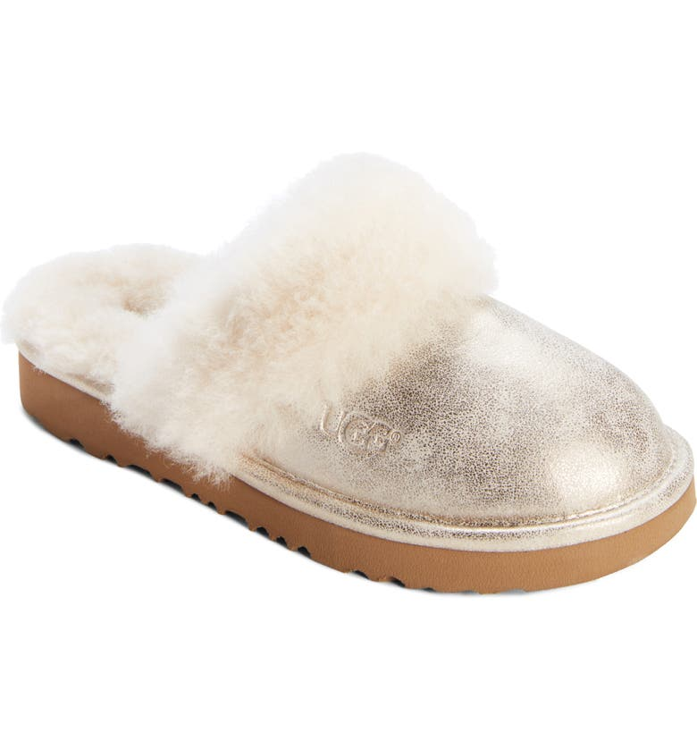 UGG<SUP>®</SUP> Cozy II Metallic Genuine Shearling Scuff Slipper, Main, color, GOLD