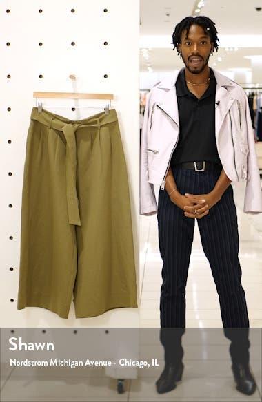 Belted Linen Blend Wide Leg Crop Pants, sales video thumbnail