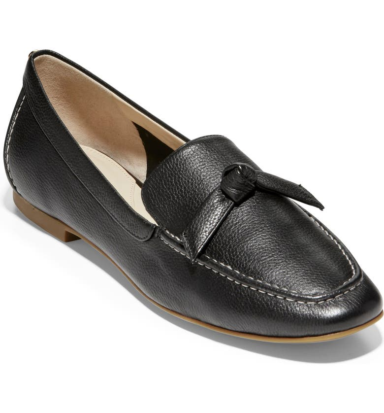 COLE HAAN Caddie Bow Loafer, Main, color, BLACK LEATHER