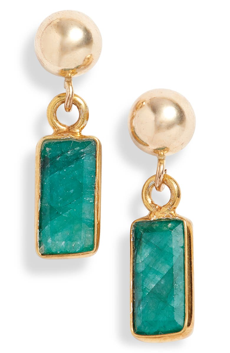 MARIDA Passage Drop Earrings, Main, color, EMERALD/ GOLD