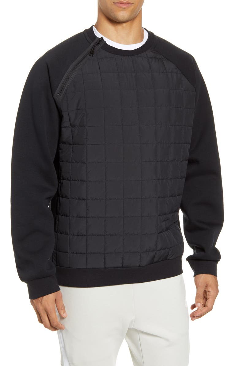 NIKE Sportswear Insulated Quilted Crewneck Sweatshirt, Main, color, BLACK/ BLACK