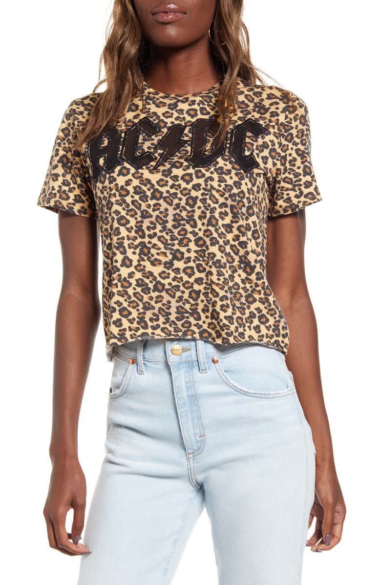 VINYL ICONS AC/DC Leopard Print Crop Tee, Main, color, 210