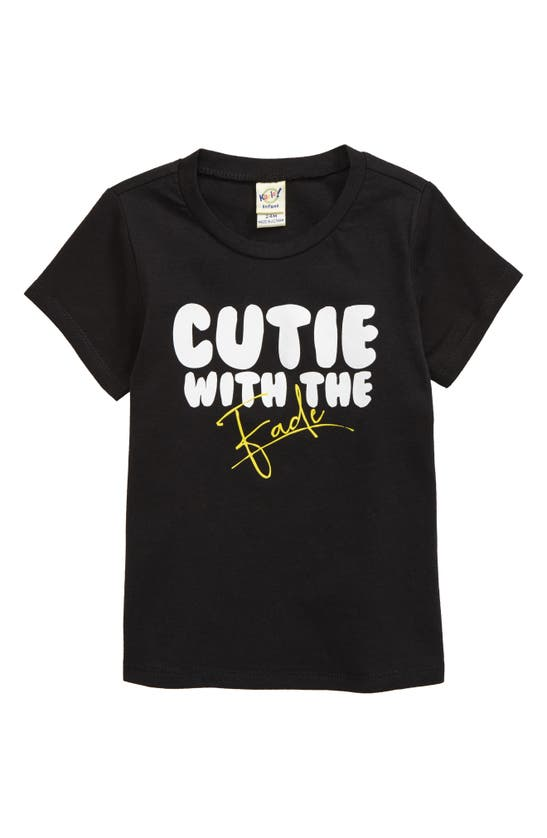 Typical Black Tees Babies' Cutie With The Fade Graphic Tee In Black
