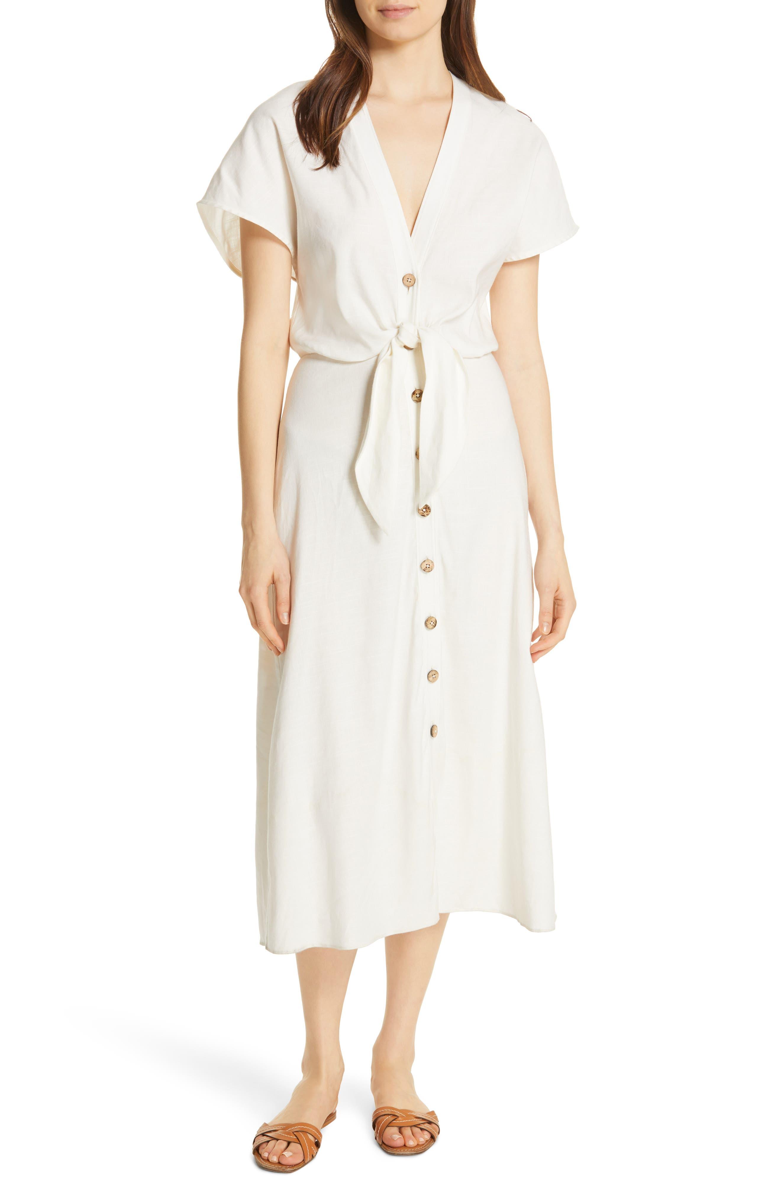 Veronica Beard Giana Tie Waist Linen Blend Midi Dress, White