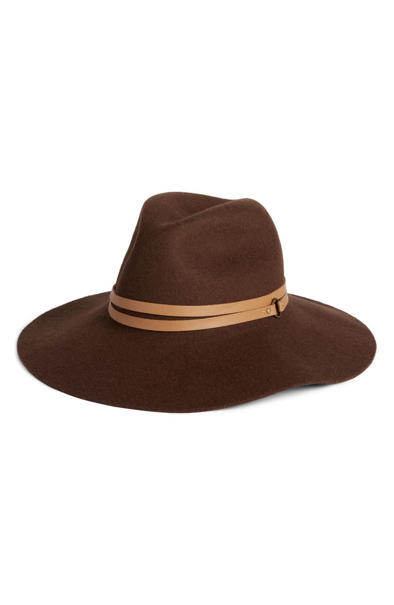 RACHEL PARCELL Rachell Parcell Floppy Felt Panama Hat, Main, color, BROWN DARK COMBO