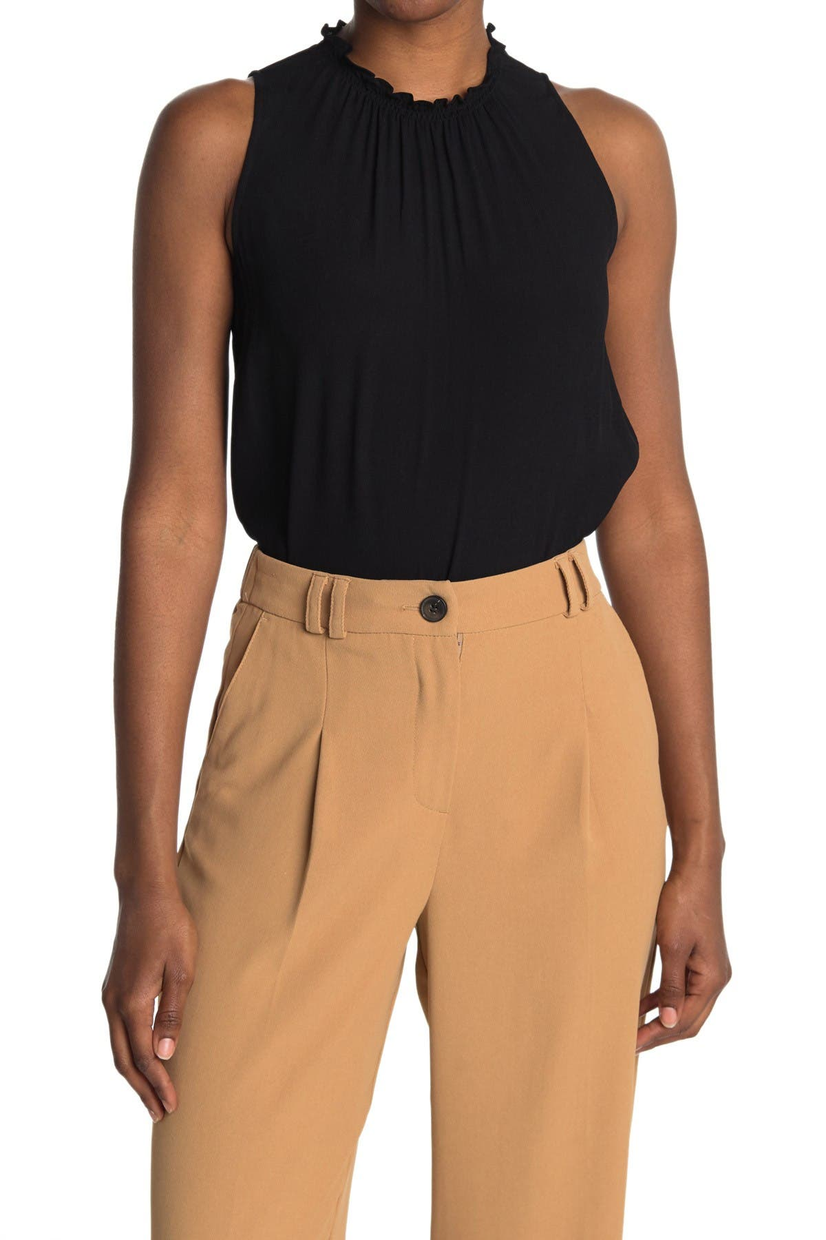 Image of Thakoon Sleeveless Ruched Mock Neck Top