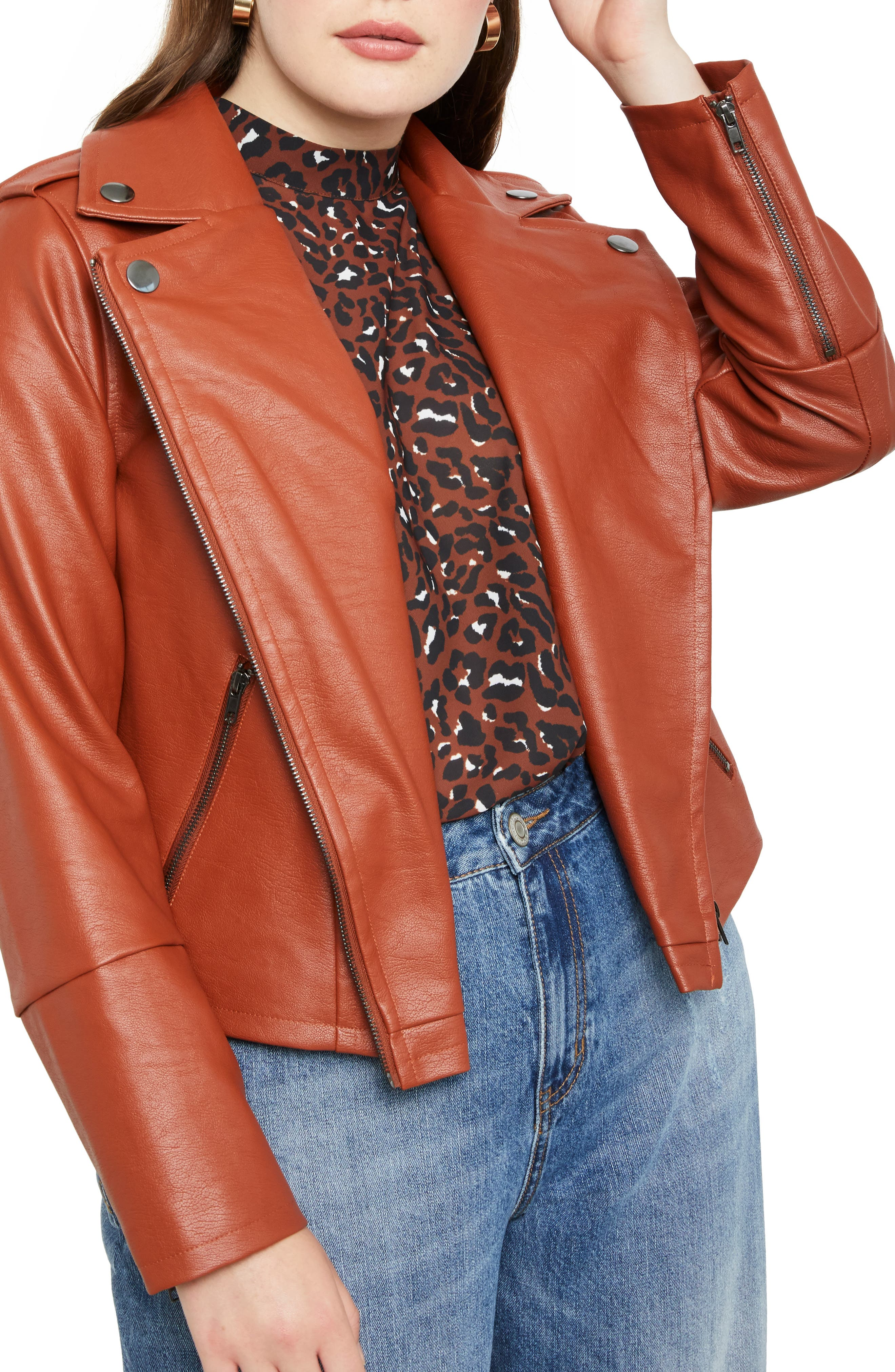 ELOQUII Faux Leather Moto Jacket (Plus Size)