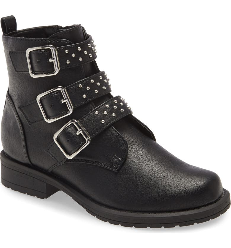 TREASURE & BOND Triple Strap Moto Boot, Main, color, BLACK FAUX LEATHER