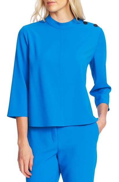 Vince Camuto Tops MOCK NECK TEXTURED CREPE TOP