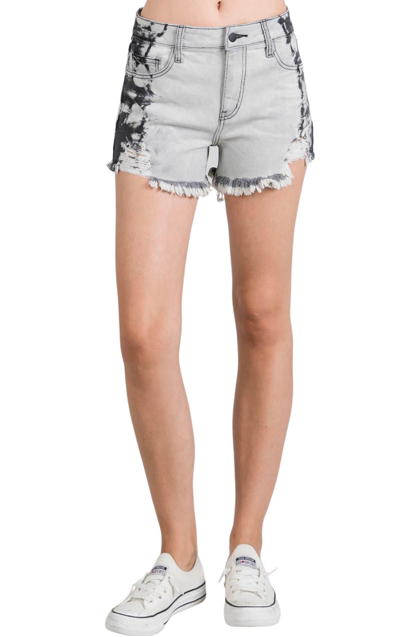 Side Tie Dye Cutoff Denim Shorts
